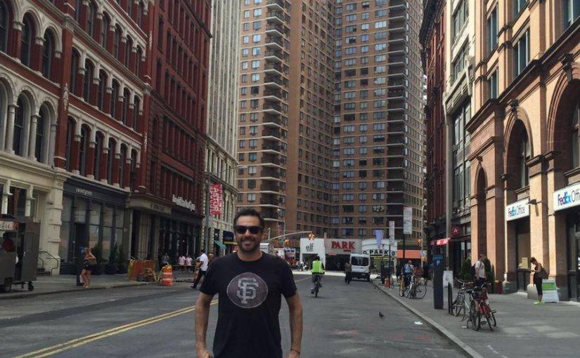 Zabaleta en New York con Gastón Gaudio y JuanMonaco